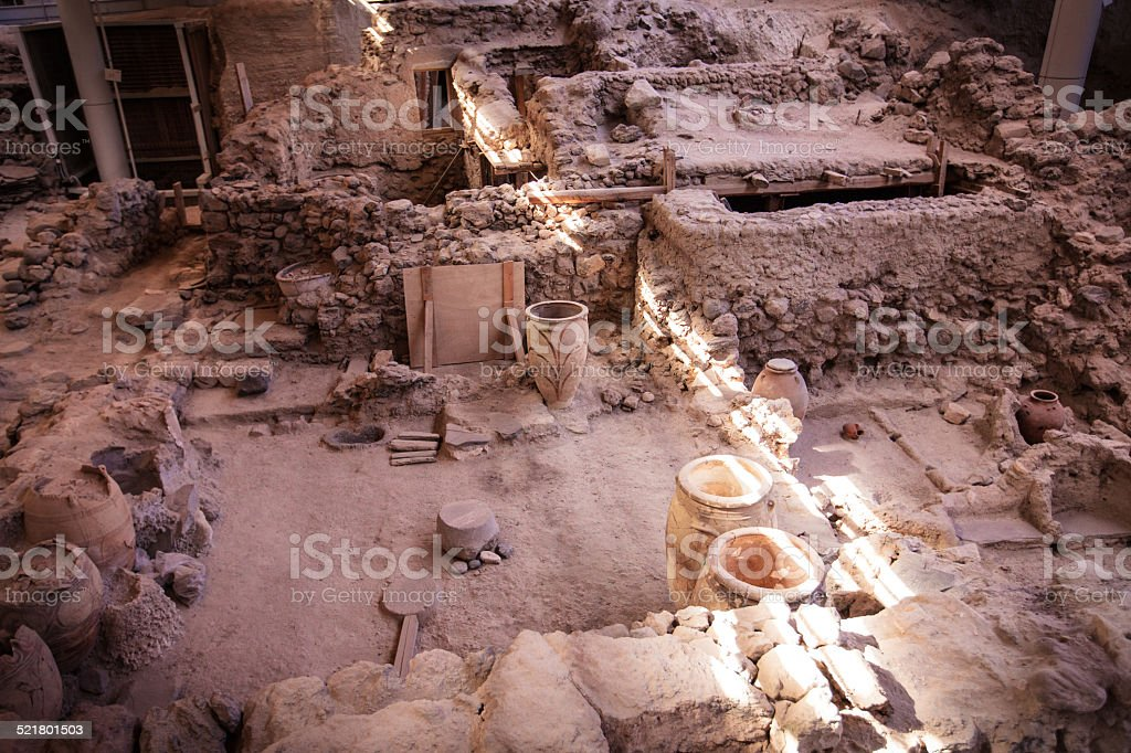 Ancient artifacts in Akrotiri, Santorini (Thira) stock photo