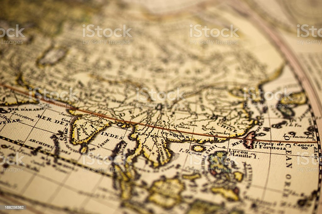 Ancient Asia World Map stock photo