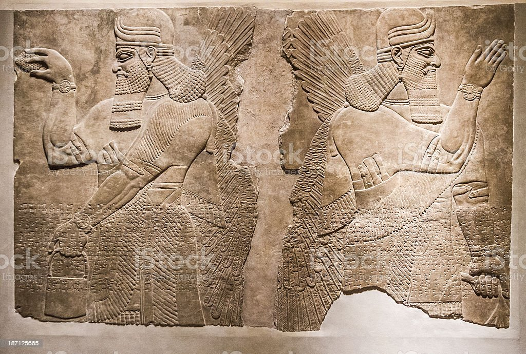Ancient Assyrian Relief stock photo