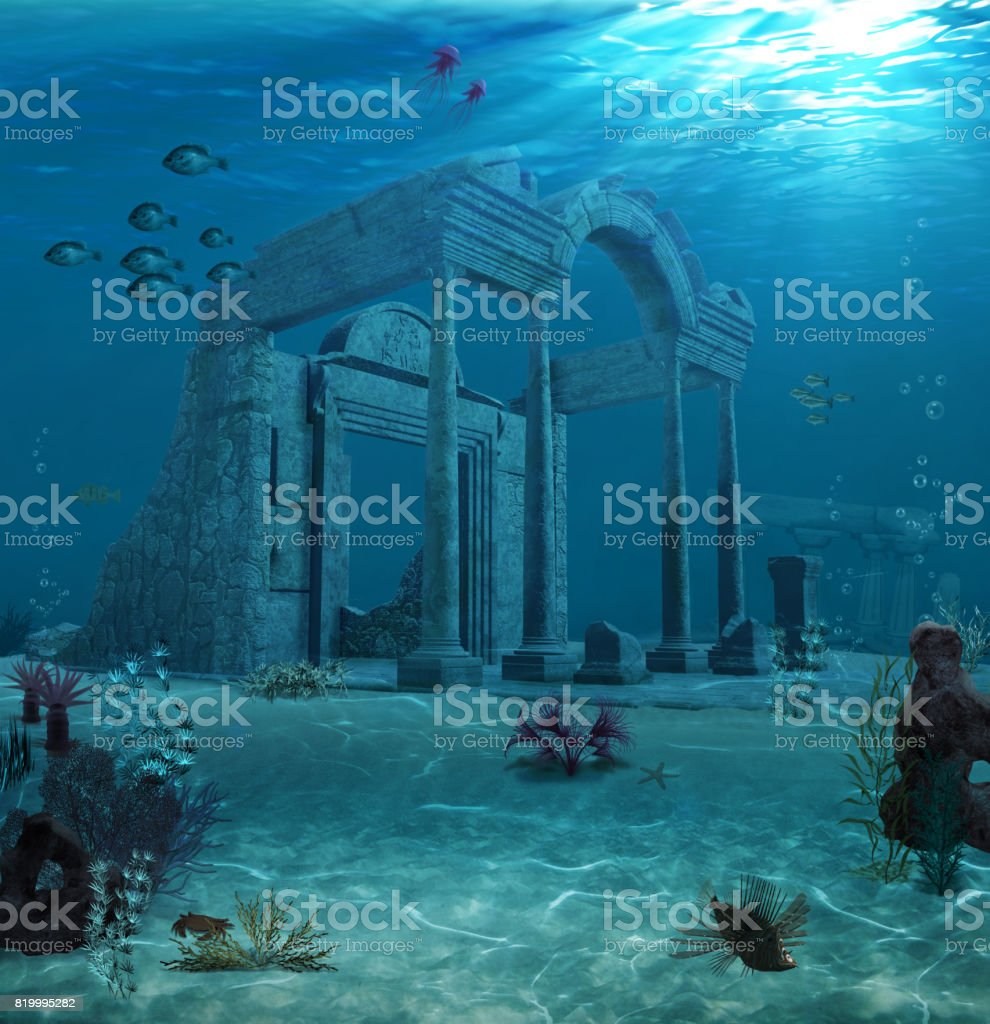 Ancient Atlantis Ruins Underwater stock photo