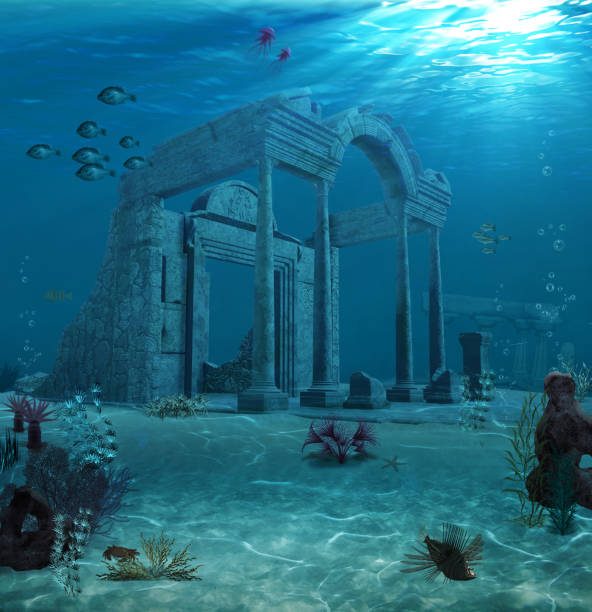 Ancient Atlantis Ruins Underwater 3d illustration of the sunken ruins of an ancient Atlantis type civilization. sunken stock pictures, royalty-free photos & images