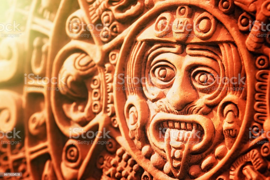 Ancient aztec stone of the sun stock photo & more pictures of