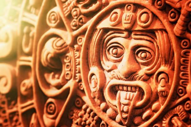 Ancient Aztec Stone of the Sun stock photo