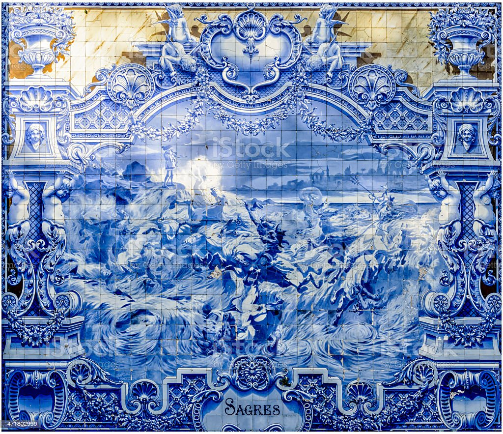 Azulejo antiga, em Lisboa - fotografia de stock