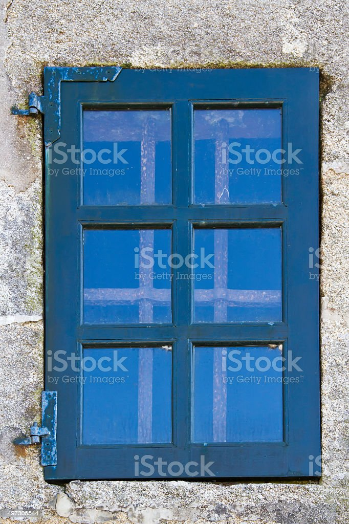 Ancient barred window royalty-free stock photo