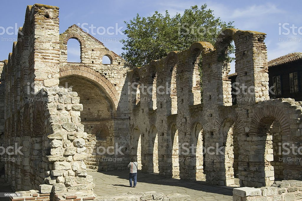 Ancient Basilica in Nessebar royalty-free stock photo