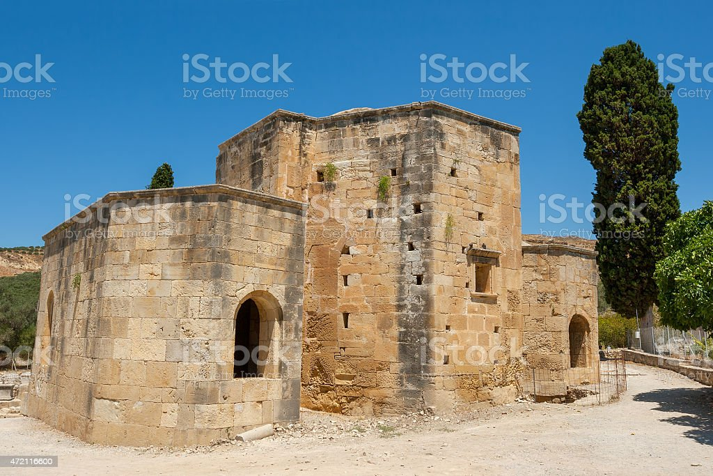 Ancient Basillica. Gortyn, Crete, Greece stock photo