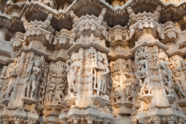 Ancient bas-relief at Ranakpur Jain temple in Rajasthan, India stock photo