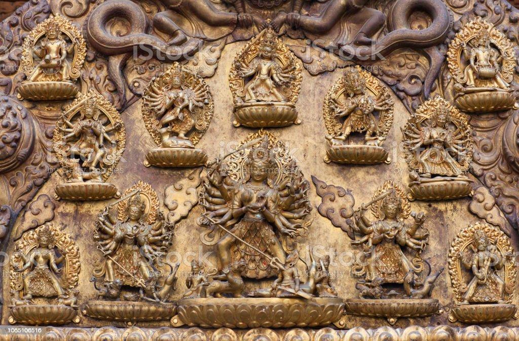 Ancient bas-relief at Royal Palace in Patan, Kathmandu Valley, Nepal stock photo