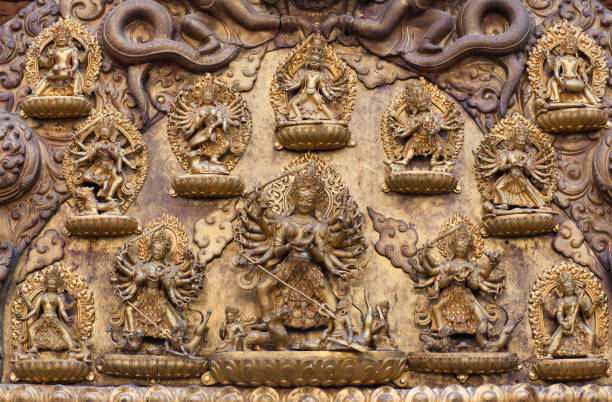 Ancient bas-relief at Royal Palace in Patan, Kathmandu Valley, Nepal stock photo