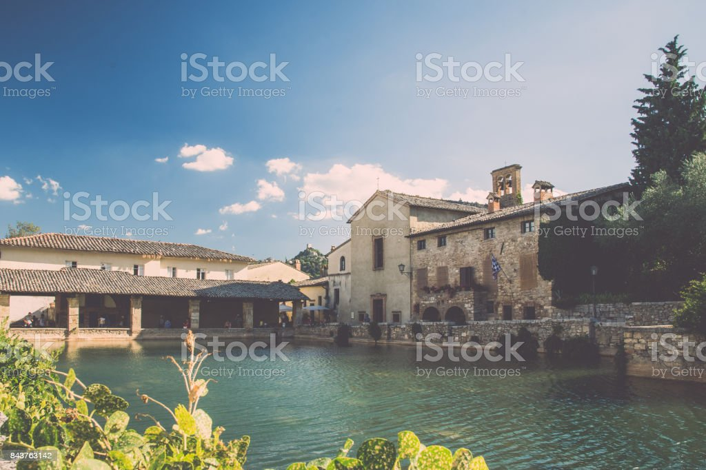 Ancient Bath in Val d'Orcia, Tuscany. Bagno Vignoni. stock photo