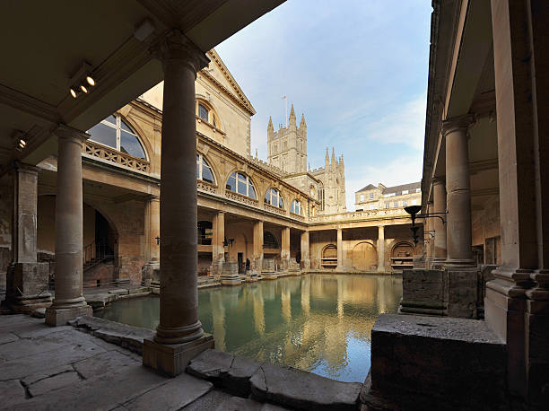 Ancient Baths The Ancient Roman Baths in the English city of Bath bath england stock pictures, royalty-free photos & images