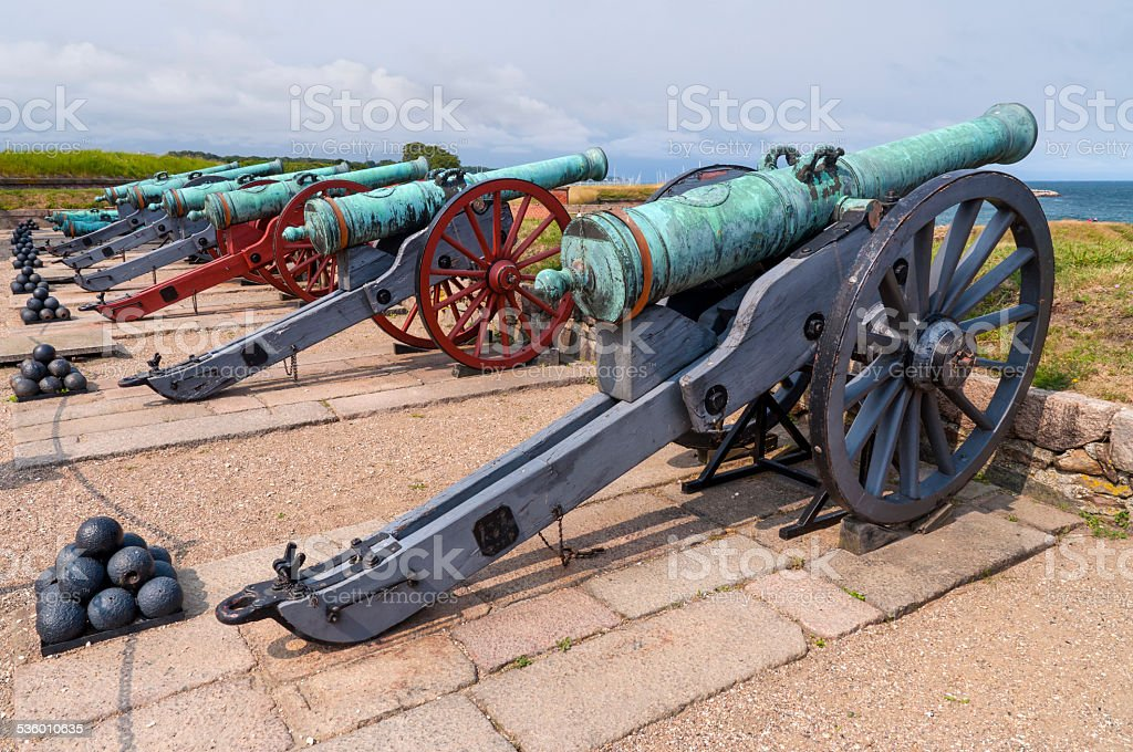 Ancient battle cannons stock photo