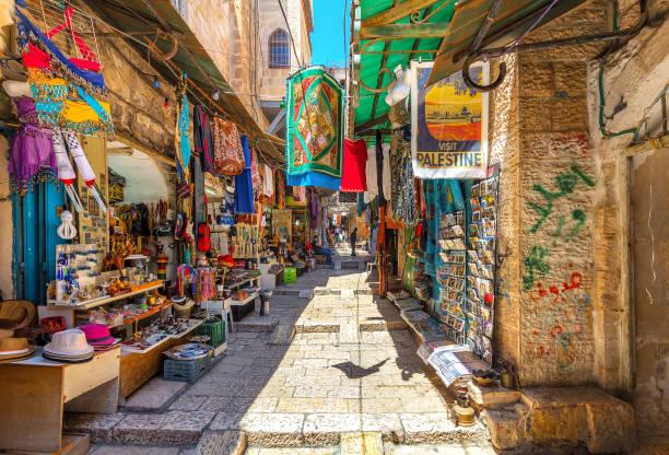 Ancient bazaar in Old City of Jerusalem. stock photo
