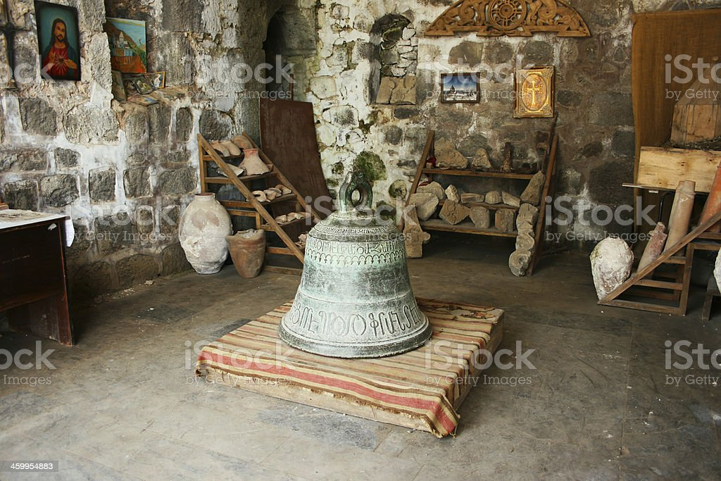 Ancient bell in Tatev monastery stock photo