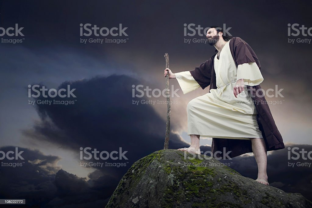 Ancient Biblical Character on Mountain Top stock photo