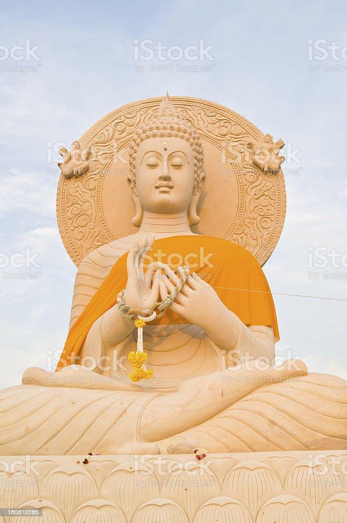 Ancient big sandstone buddha statue royalty-free stock photo