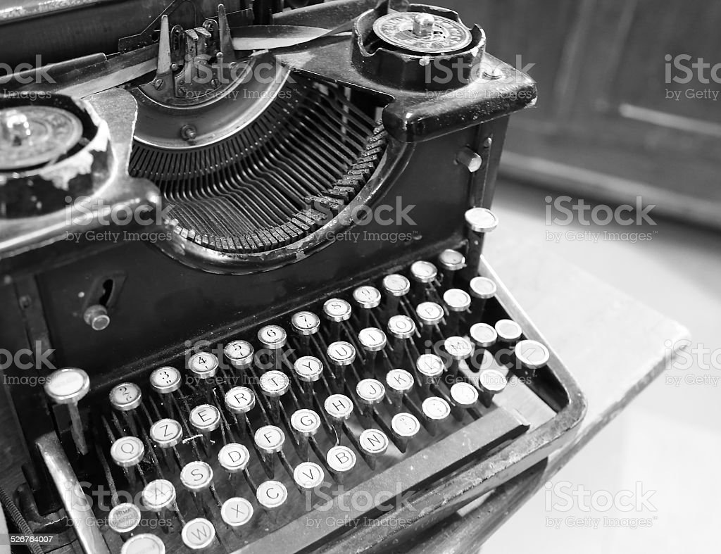 ancient black rusty typewriter used by typists stock photo
