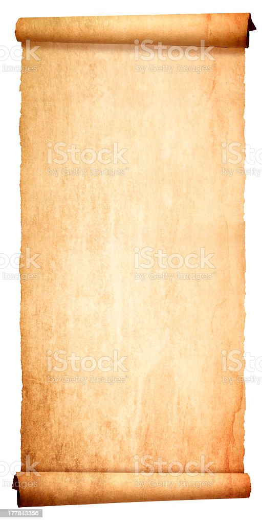 Ancient blank scroll isolated on white background stock photo