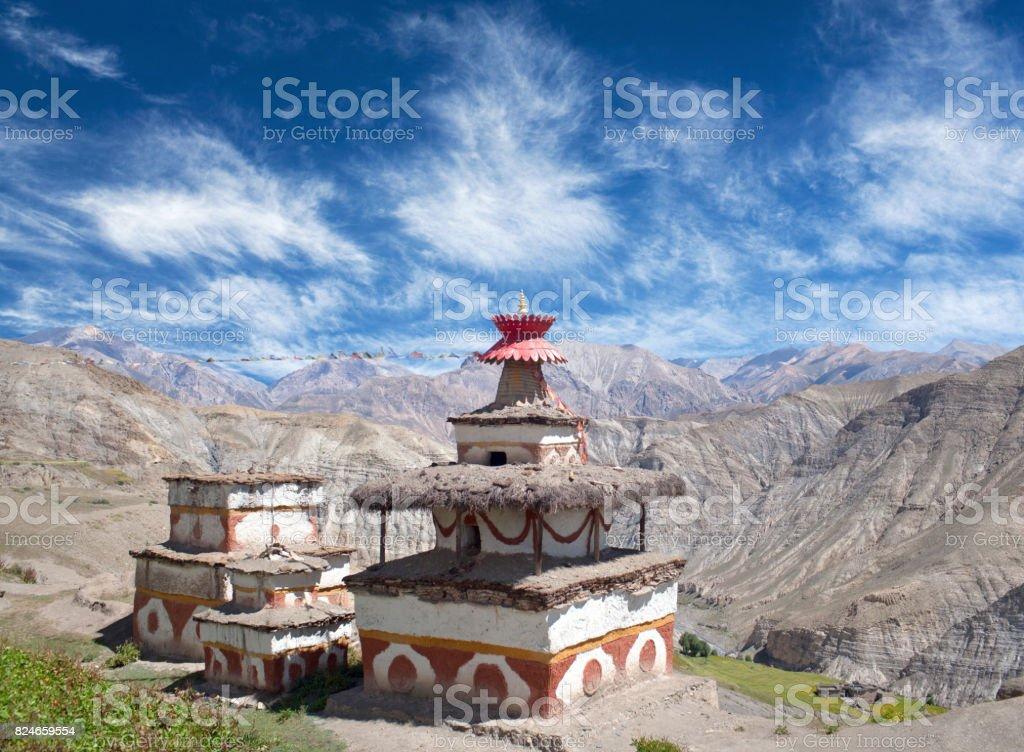 Ancient Bon stupa in Saldang village, Dolpo, Nepal stock photo