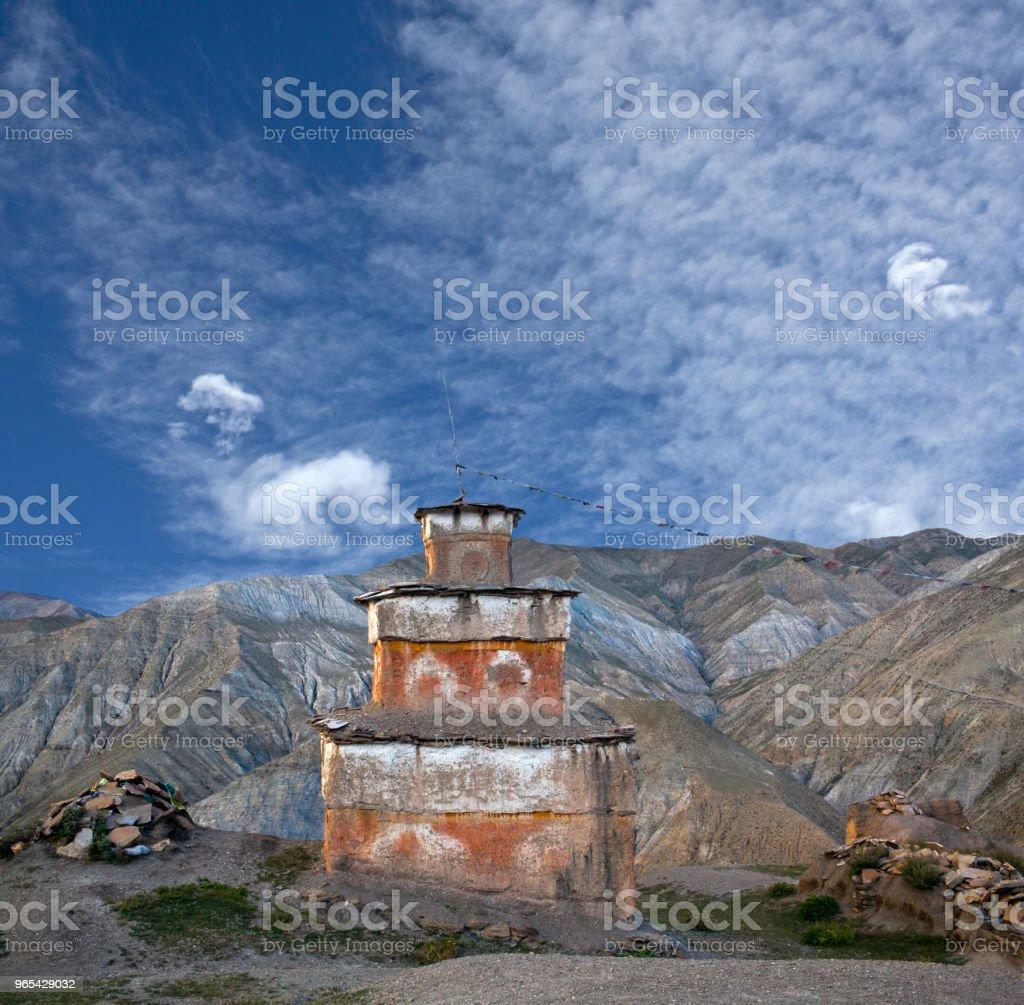 Ancient Bon stupa in Saldang village, Western Nepal royalty-free stock photo