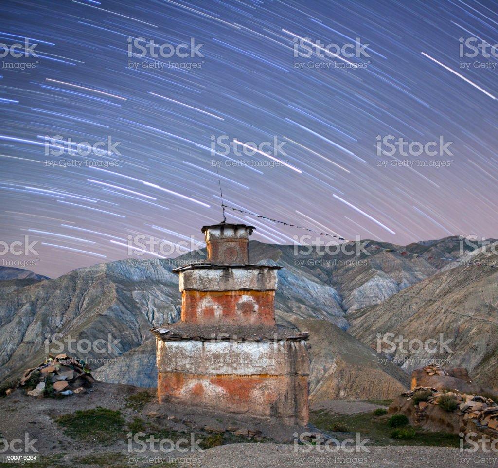 Ancient Bon stupa night view in Dolpo, Nepal Himalayas stock photo