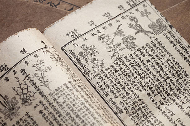 ancient book of Chinese herbal medicine stock photo