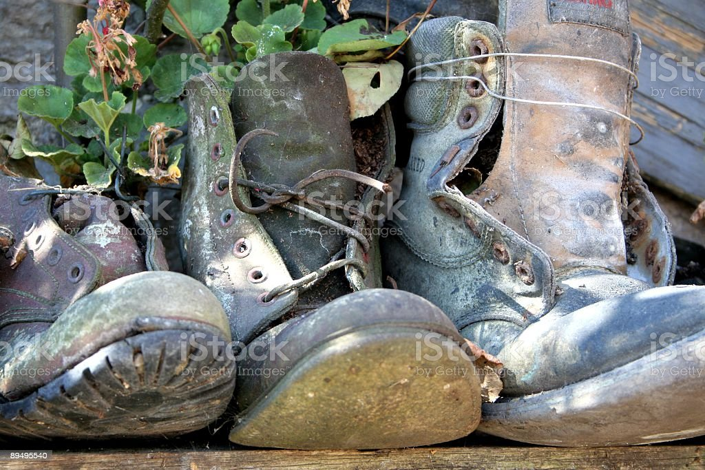 Ancient Boots stock photo