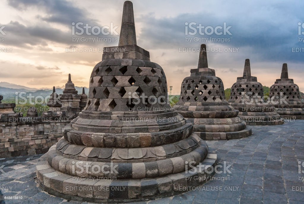 YOGYAKARTA, INDONESIA - AUGUST, 28:  Ancient Borobudur Buddhist Temple on Java stock photo