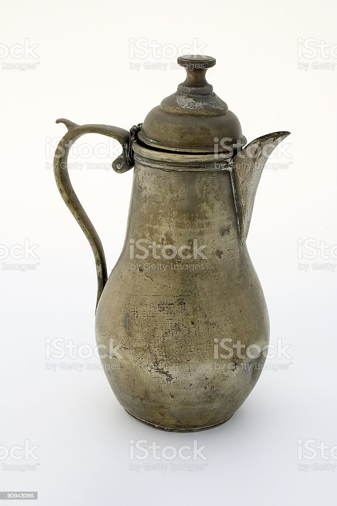 Ancient brass coffee pot royalty-free stock photo