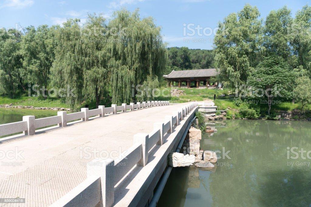 Ancient bridge and water In chengde summer resort park stock photo
