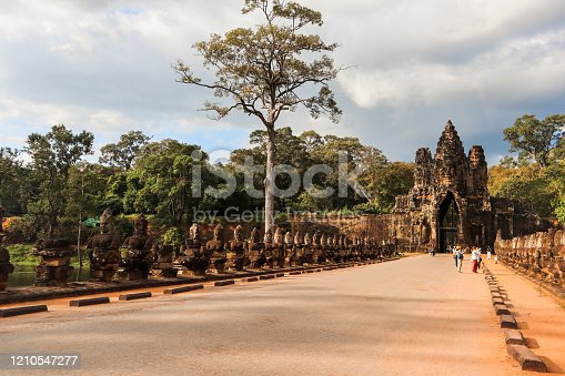 Ancient bridge at Angkor Thom Gate