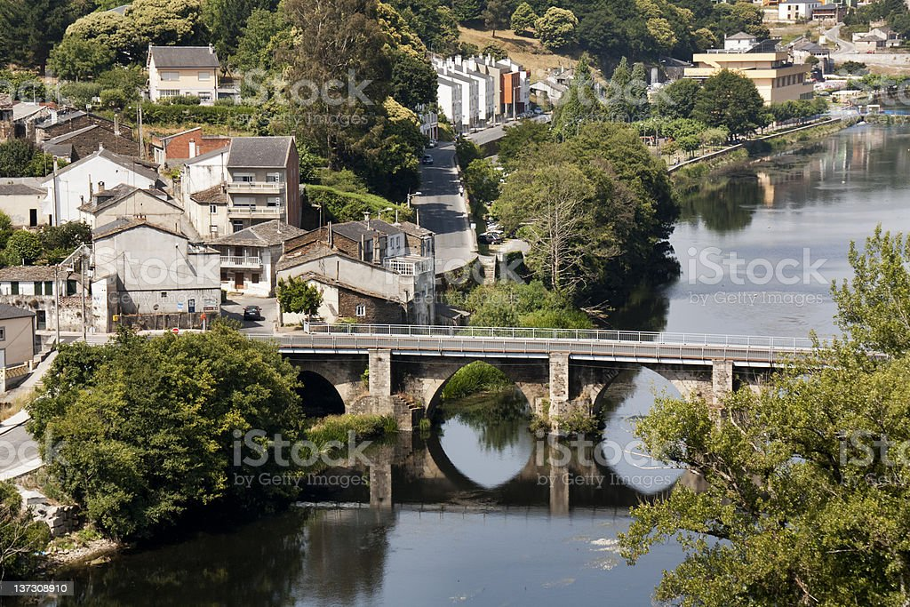 Ancient bridge in Lugo, Spain stock photo