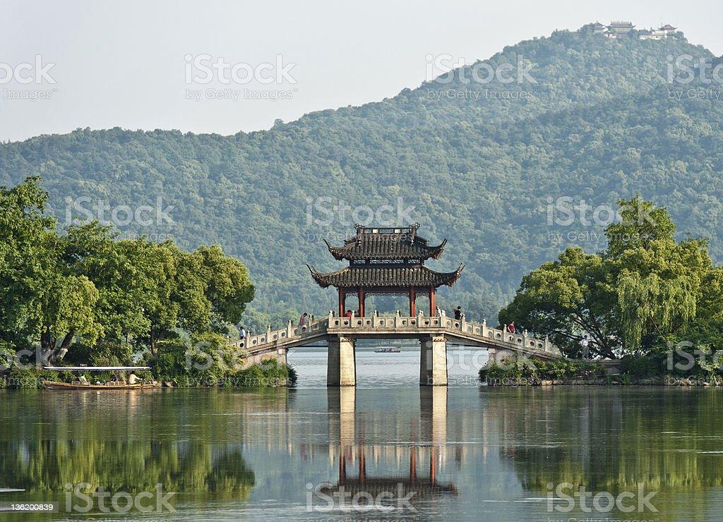 Ancient bridge over a lake, China stock photo