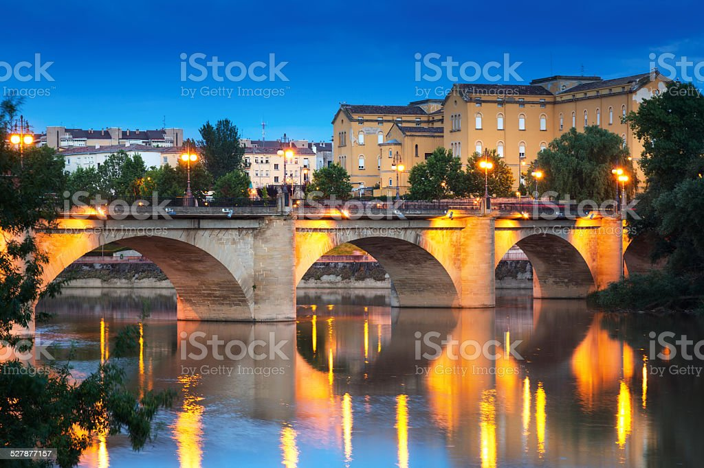 ancient  bridge over Ebro  in evening. Logrono stock photo