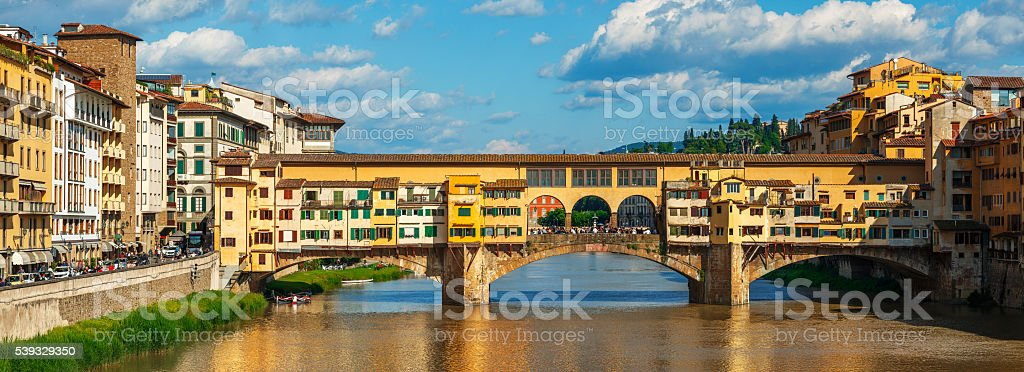 Ancient bridge ponte vecchio in florence stock photo