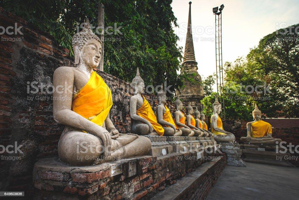 Ancient buddha in Ayutthaya, Thailand stock photo