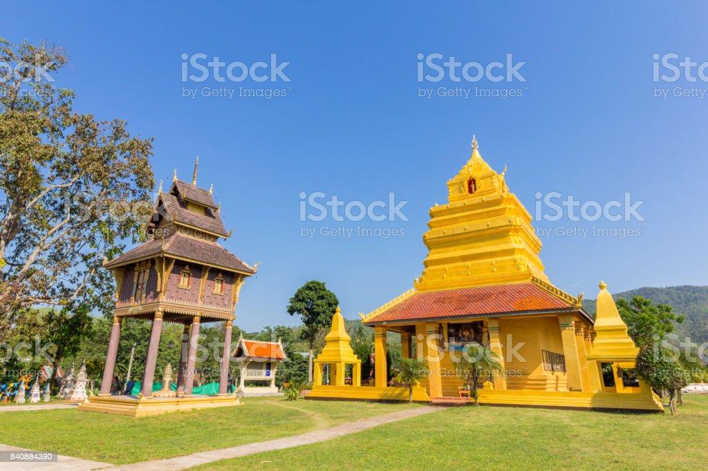 Ancient Buddha statue at Wat Pho Chai stock photo