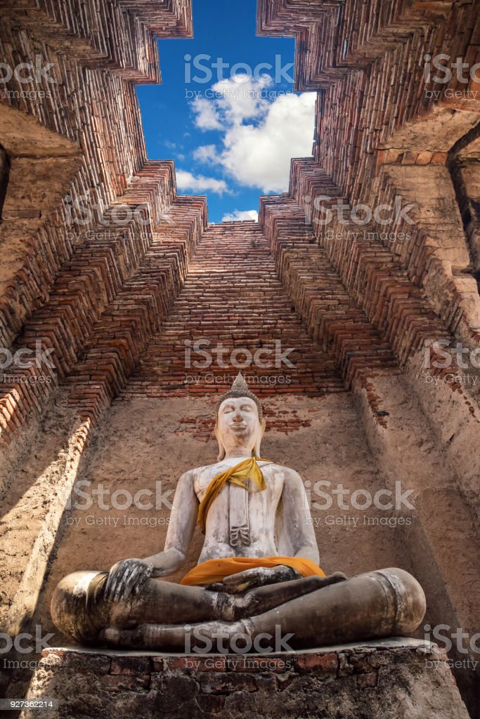 Ancient buddha statue in old temple , Ayutthaya Historical national park , Thailand Ancient buddha statue in old temple , Ayutthaya Historical national park , Thailand Ancient Stock Photo