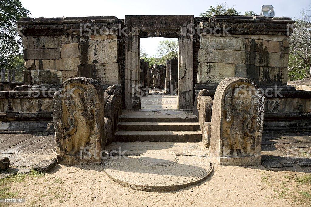 Ancient Buddha statue  in Polonnaruwa - vatadage temple, UNESCO stock photo