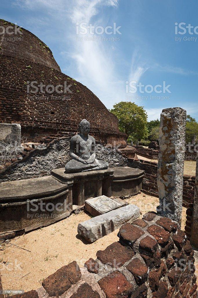 Ancient Buddhist dagoba (stupe) Pabula Vihara.  Sri Lanka stock photo