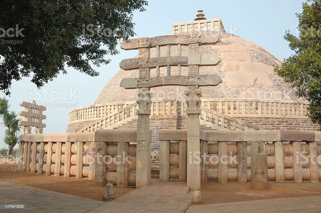 Ancient buddhist Great Stupa at Sanchi,India.Madhya Pradesh stock photo