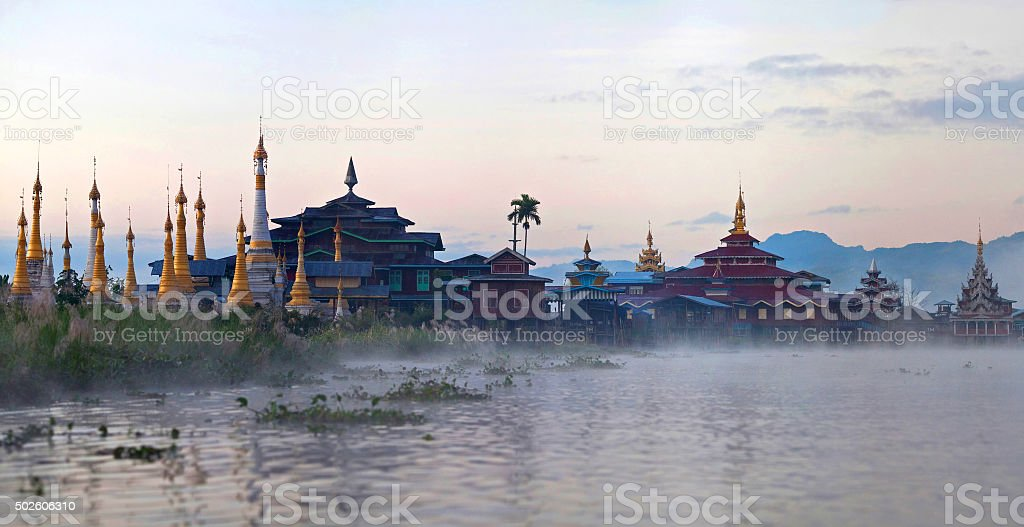 Ancient buddhist pagoda and monastery on Inle lake, Shan state, stock photo