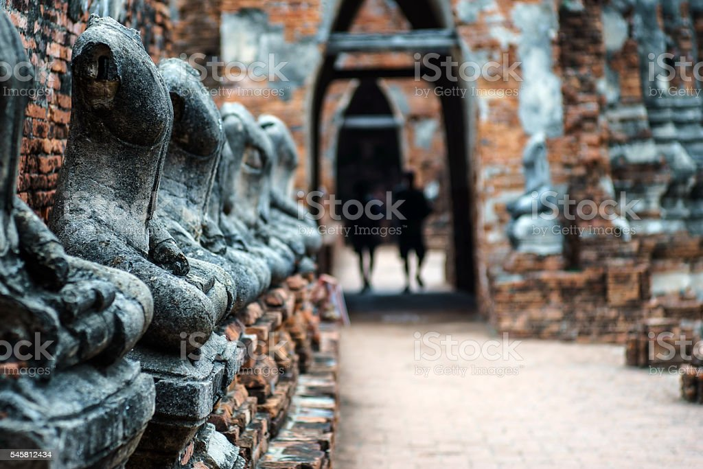 Ancient Buddhist pagoda ruins at Chai Watthanaram temple Ayutthaya, Thailand stock photo