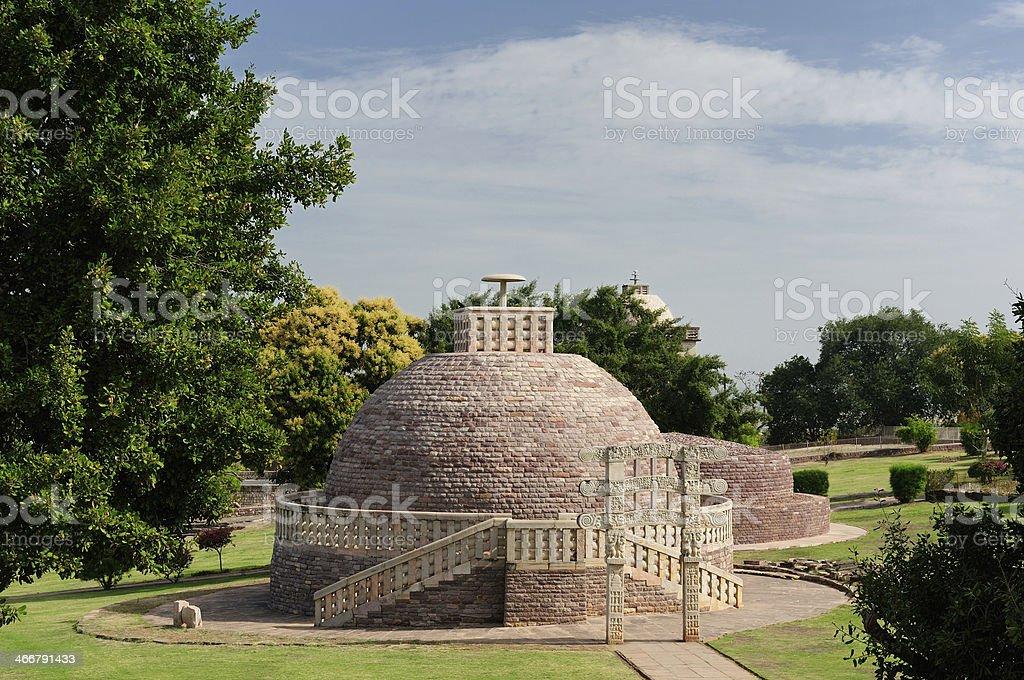 Ancient Buddhist stupas in Sanchi stock photo