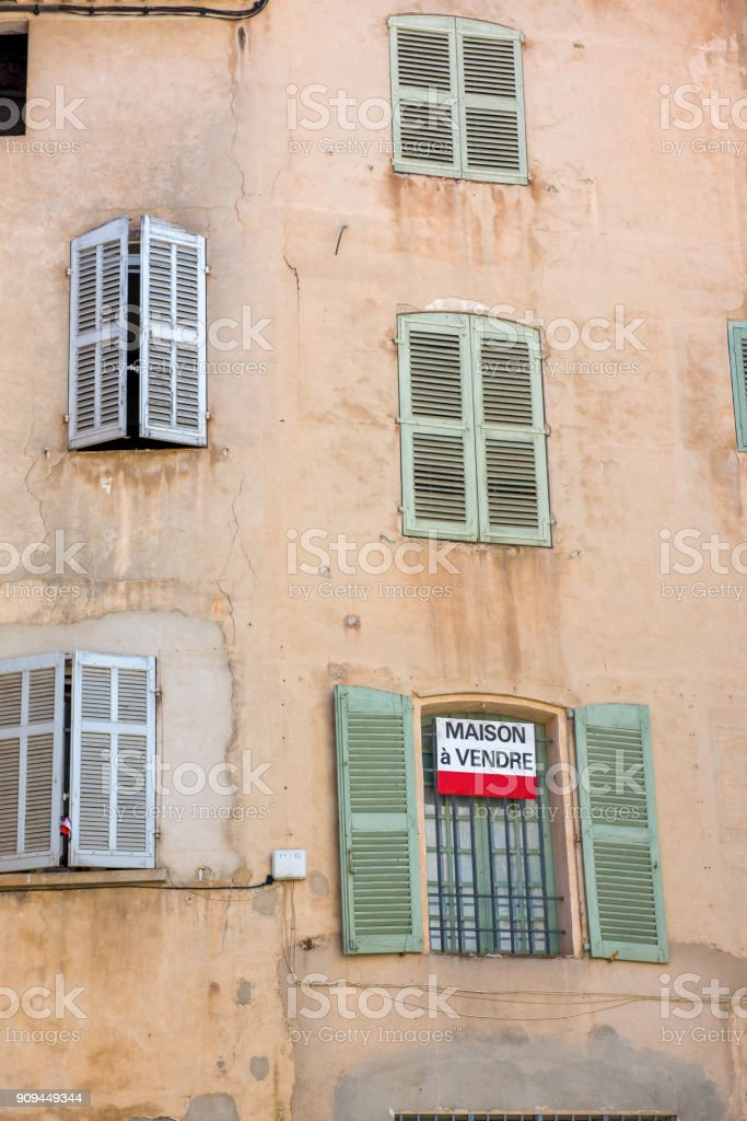Ancient buiding for sale in France stock photo
