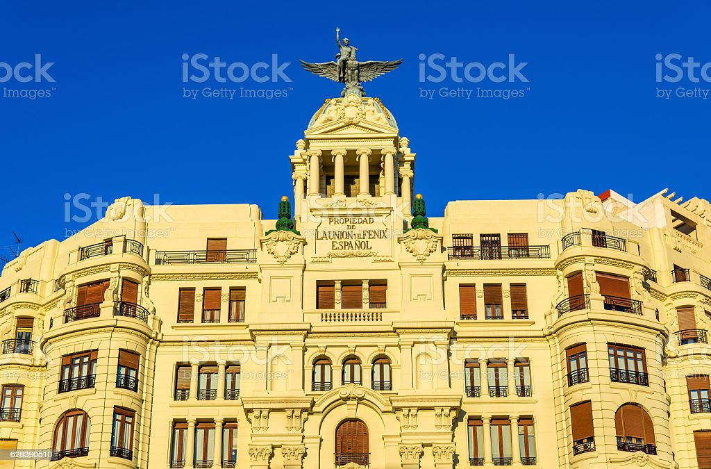 Ancient building at the crossroad of Carrer de Xativa and stock photo
