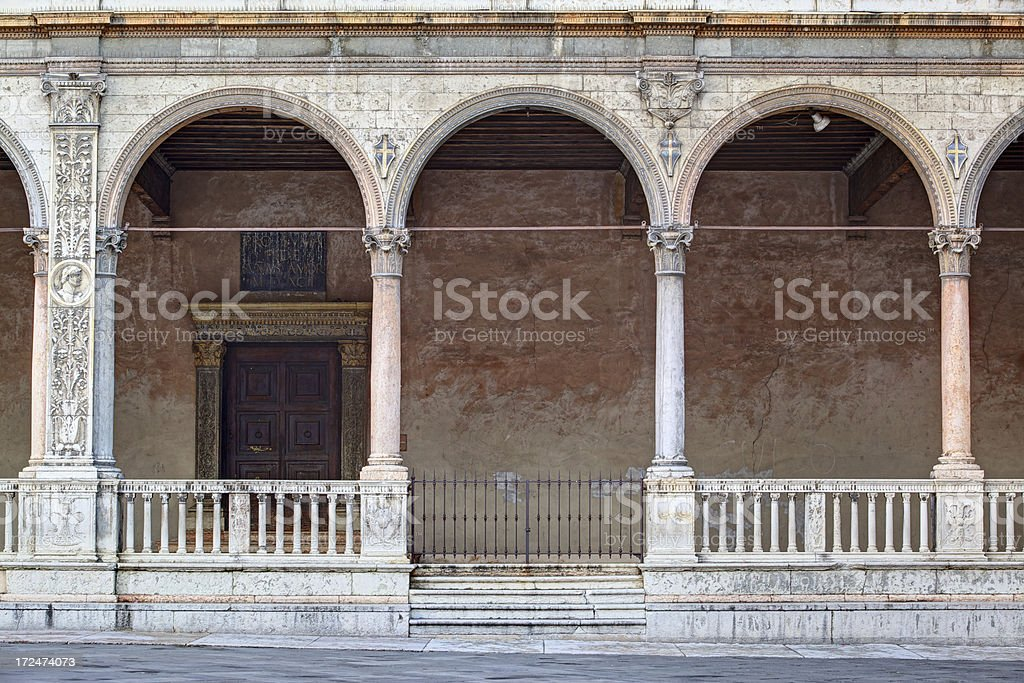 Ancient building with arches in Square of Lords. Verona-Italy. stock photo