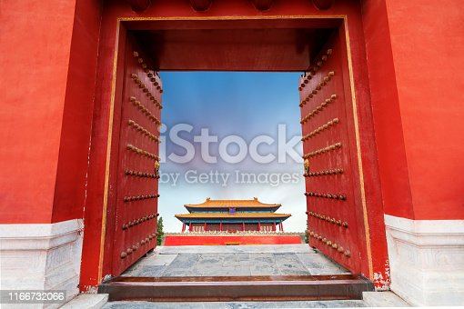 Red gates and historic buildings, Beijing, China. ranslation: