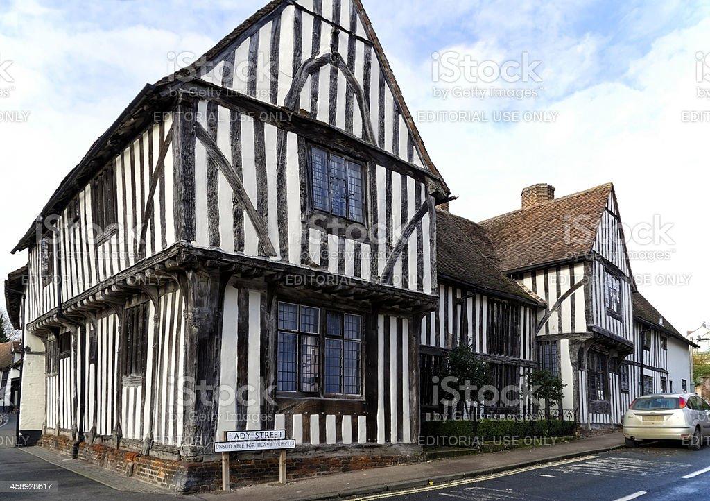 Ancient buildings in Lavenham stock photo